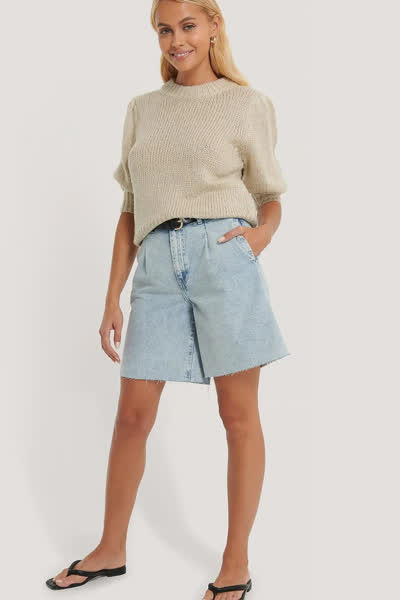 Bermuda-Shorts mit Falte